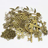 LolliBeads 230 Gram Antiqued Bronze/Silver Metal Skeleton Keys and Wings, Bronze Steampunk Watch Gear Cog Wheel, Chains, Clasps and Jump Rings DIY Kits (300 Pcs)