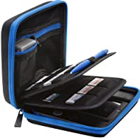 BRENDO Carrying Case for Nintendo 2DS with 24 Game Storage Holders, Fits Charger - Black/Blue