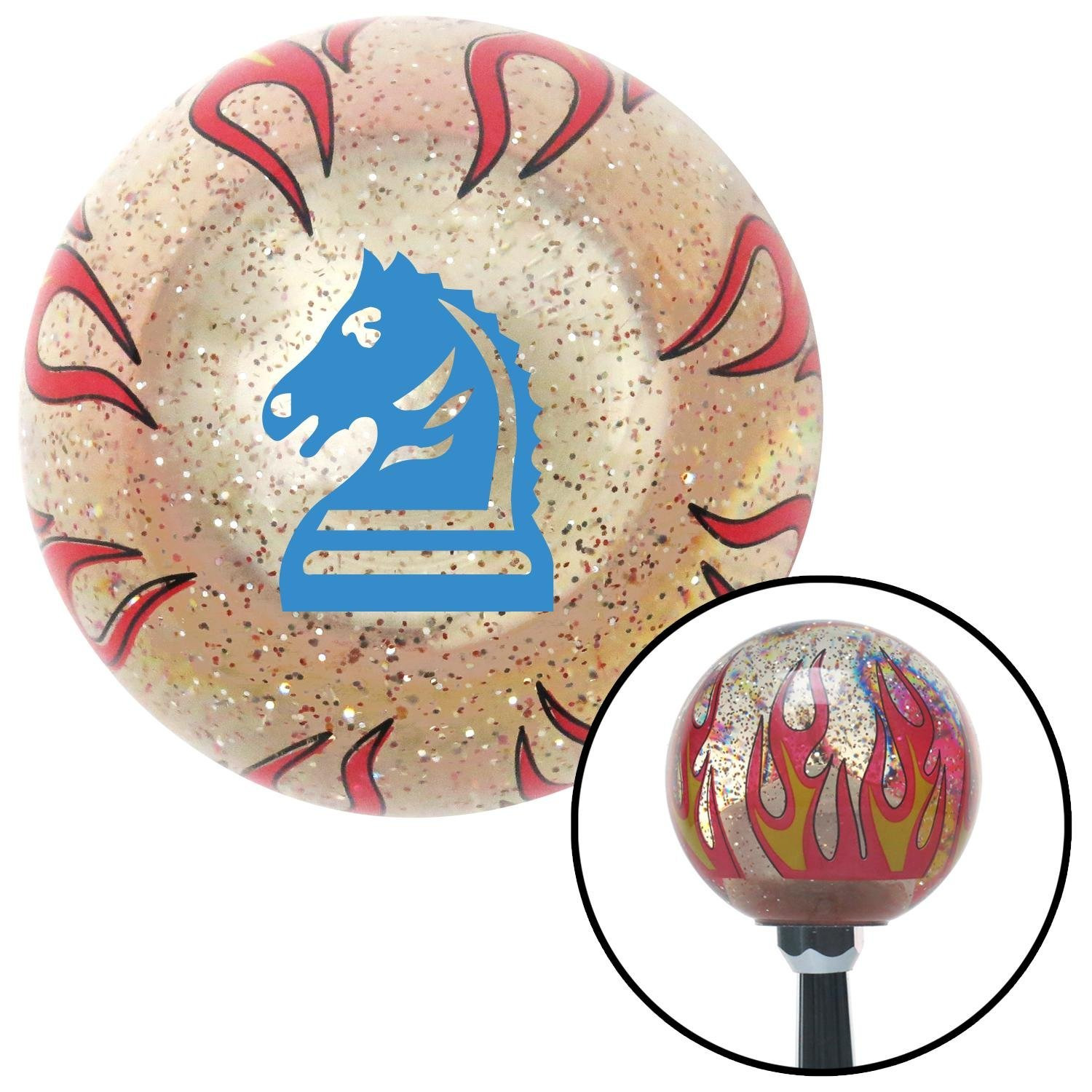 American Shifter 233825 Clear Flame Metal Flake Shift Knob with M16 x 1.5 Insert Blue Knight Horse