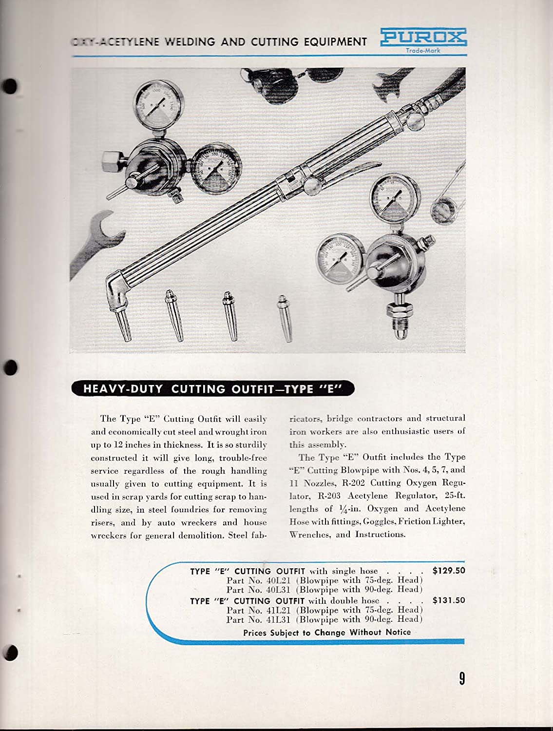 Purox Oxy Acetylene Welding Cutting Equipment Catalog 1953 At Diagram Amazons Entertainment Collectibles Store