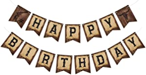 Pre-Strung Cowboy Birthday Banner, Ready to Hang Wild Western Bday Party Sign, Wooden House Barn Bunting