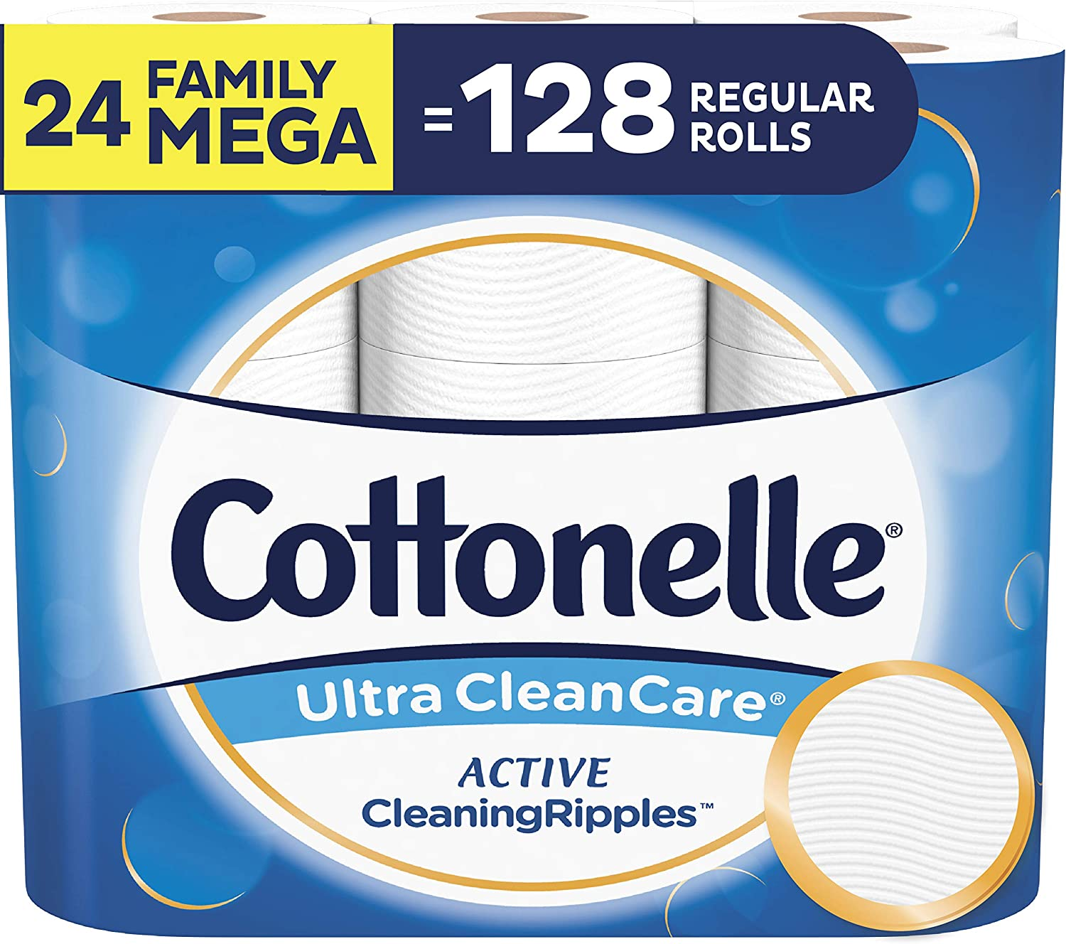 Cottonelle Ultra CleanCare Toilet Paper with Active CleaningRipples, Strong Biodegradable Bath Tissue, Septic-Safe, 24 Family Mega Rolls
