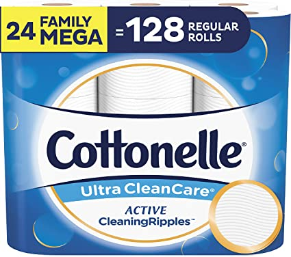 Cottonelle Ultra CleanCare Toilet Paper, with Active CleaningRipples, Strong Biodegradable Bath Tissue, Septic-Safe, 24 Family Mega Rolls