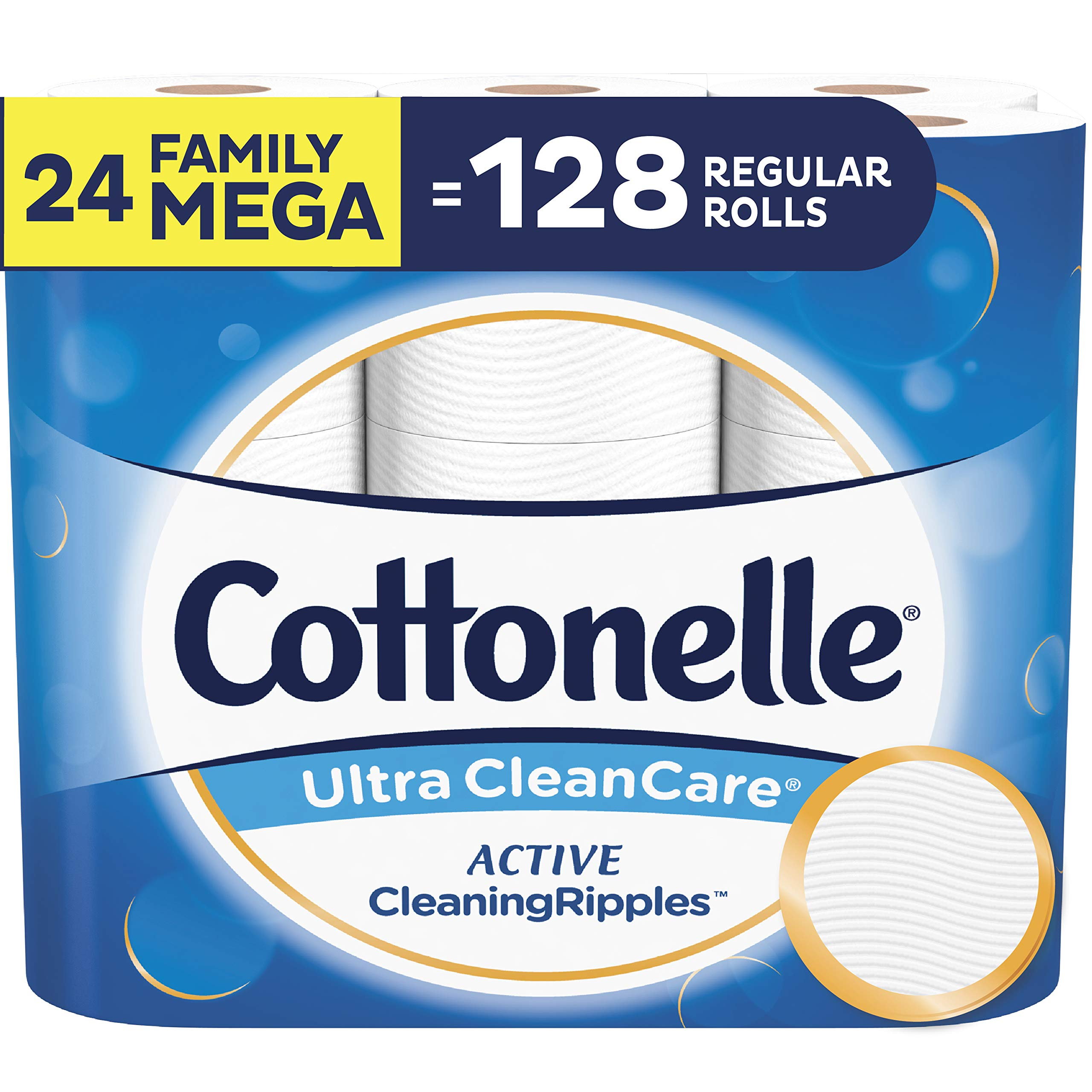 Cottonelle Ultra CleanCare Toilet Paper with Active CleaningRipples, Strong Biodegradable Bath Tissue, Septic-Safe, 24 Family Mega Rolls by Cottonelle