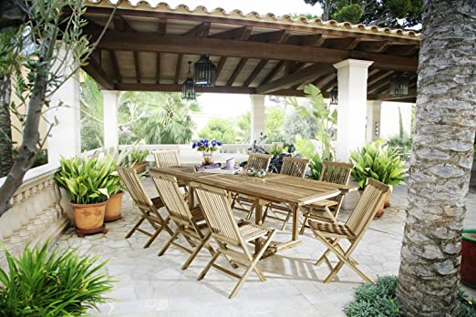 SAM® Jardín Grupo, 9 piezas, de muebles de jardín de madera de ...