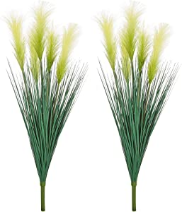 "LUEUR Artificial Greenery Plants Reed Flowers, 35.4"" Faux Reed Grass Fake Shrubs Outdoor Plant Dried Pampas Flowers Bouquet Wheat Grass for Floor Decorative Home Garden Wedding Decor 2 Bunches"
