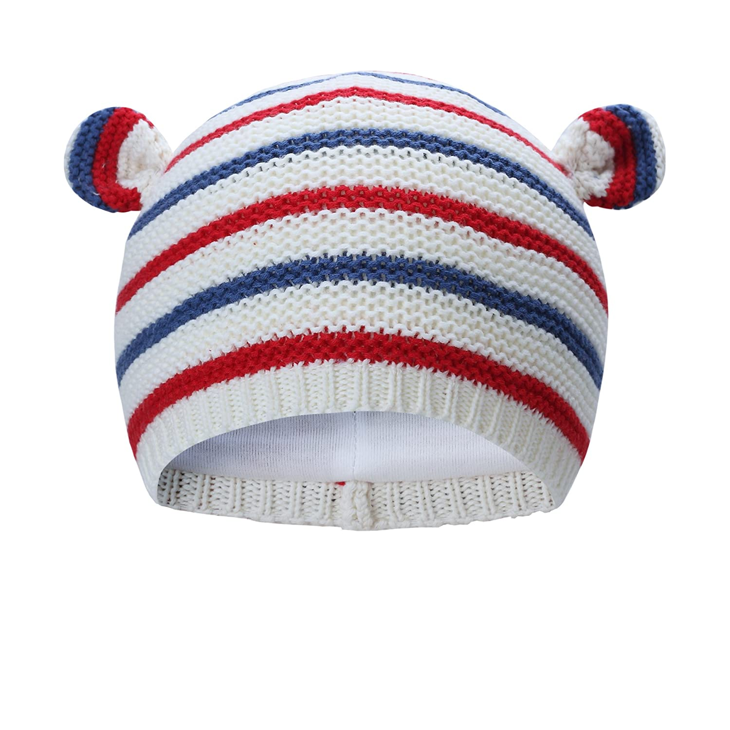 Vivobiniya Newborn baby winter lovely Knitted cap Chromatic stripe baby hats