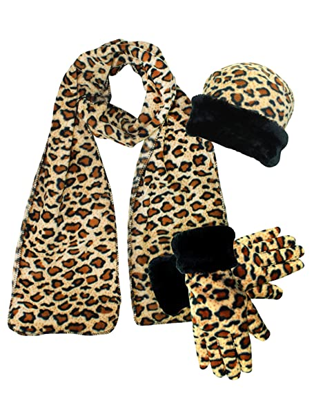 a00dac1fe60 Leopard Print Fleece 3-Piece Hat Scarf   Gloves Matching Winter Set at  Amazon Women s Clothing store