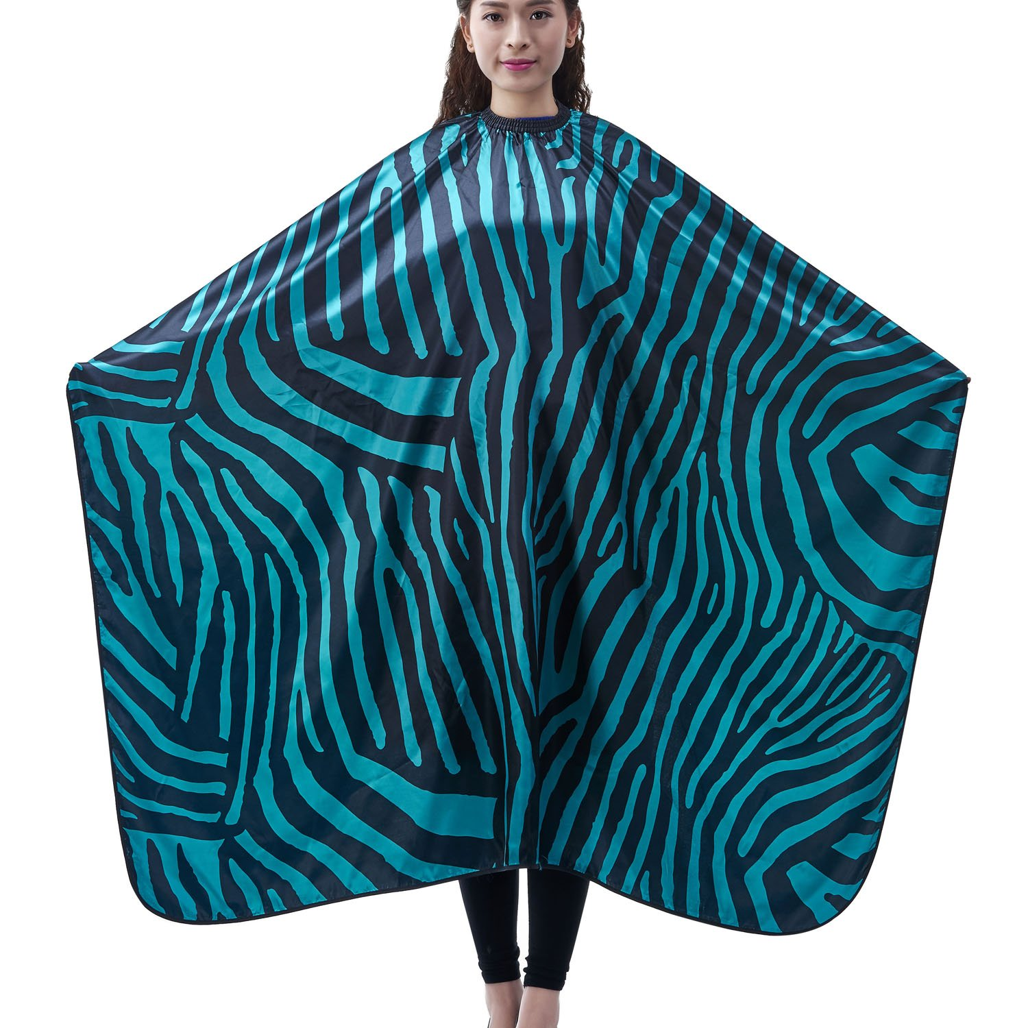 Salon Professional Hair Styling Cape, Colorfulife® Adult Hair Cutting Coloring Styling Waterproof Cape Satin Hairdresser Wai Cloth Barber Gown Home Camps & Hairdressing Wrap Zebra Pattern Capes K007 (Green)
