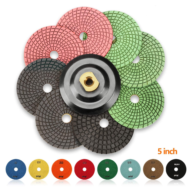 SPTA 8pcs Diamond Wet Polishing Pads Set For Granite Stone Concrete Marble Floor Grinder or Polisher, 50#-3000# with Hook & Loop Backing Holder Disc (5 inch)