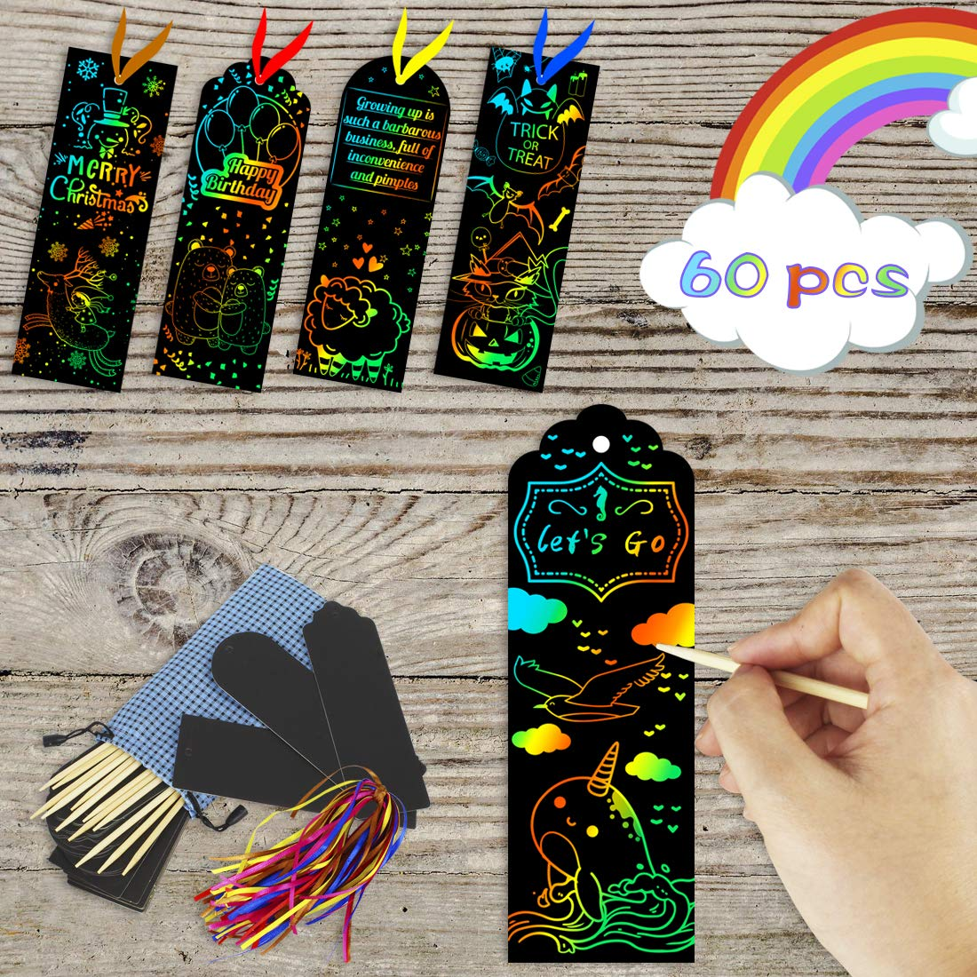KOMIWOO Scratch Rainbow-Bookmarks, Magic Scratch Paper Art Bookmarks DIY Gift Tags with Satin Ribbons, Wood Stylus, Rope, Storage Bag for Kids Party and Arts & Craft Activity