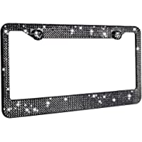 1 Pack Handcrafted Black Crystal Premium Stainless Steel Bling License Plate Frame