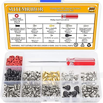 Extra: Phillips Screwdriver Glarks 180-Pieces Phillips Head Computer PC Spacer Screws Assortment Kit for Hard Drive Computer Case Motherboard Fan Power Graphics