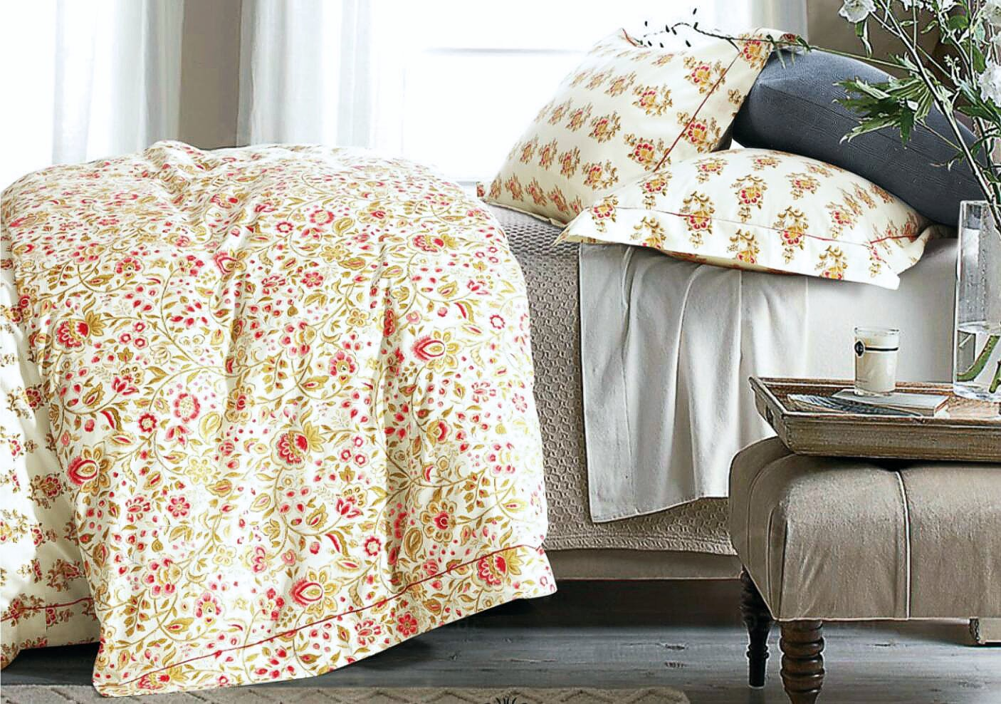 Cottage Country Style 3 Piece Duvet Cover Set Multicolored Roses