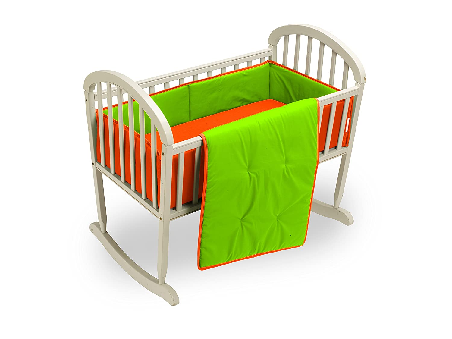 Baby Doll Bedding Solid Reversible Cradle Bedding Set, Orange/Apple 501cr36-orange/apple