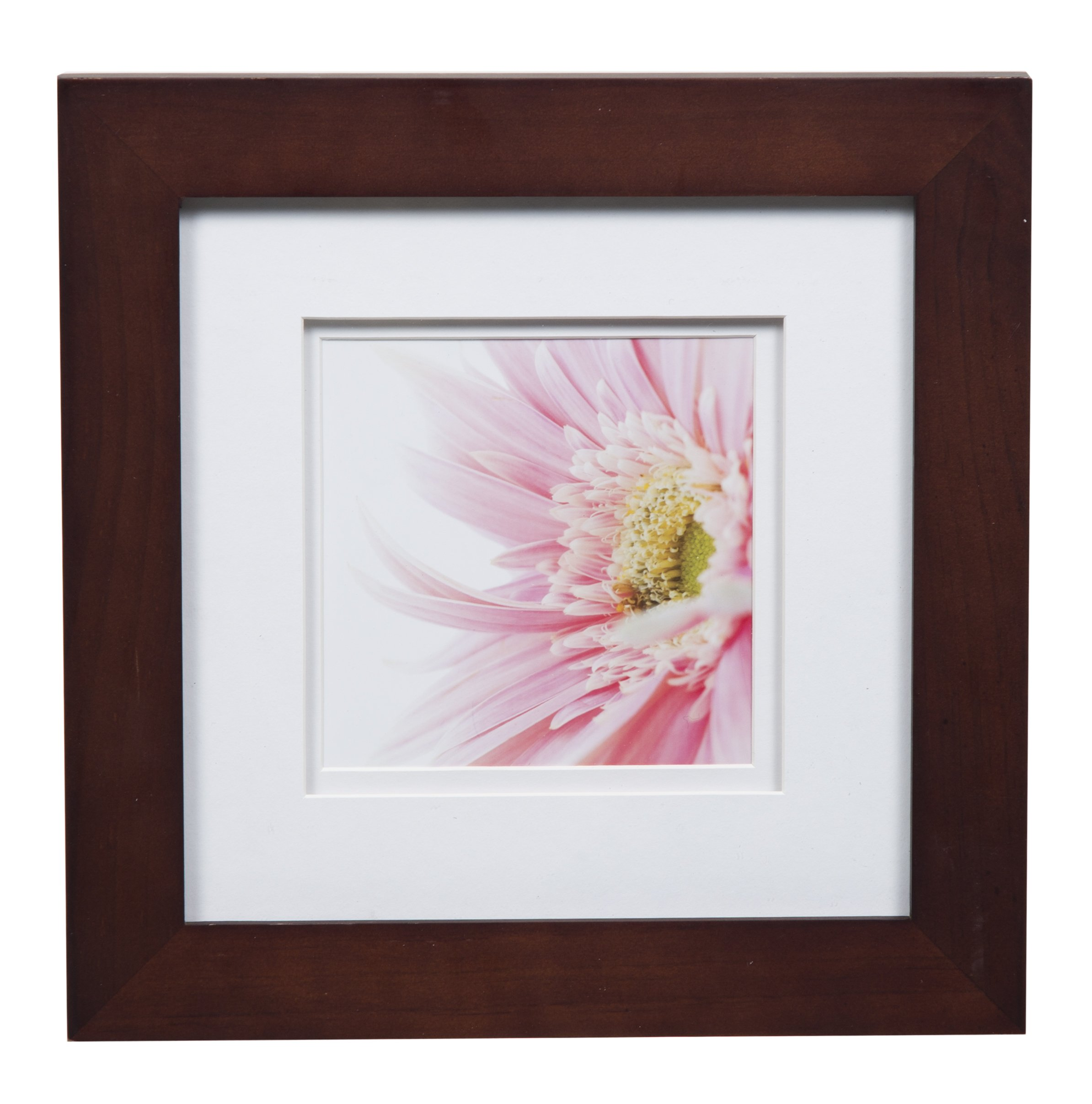 Gallery Solutions Photo 8x8 Flat Walnut Tabletop or Wall Frame with Double White Mat for 5x5 Picture, 8'' x 8'', by Gallery Solutions