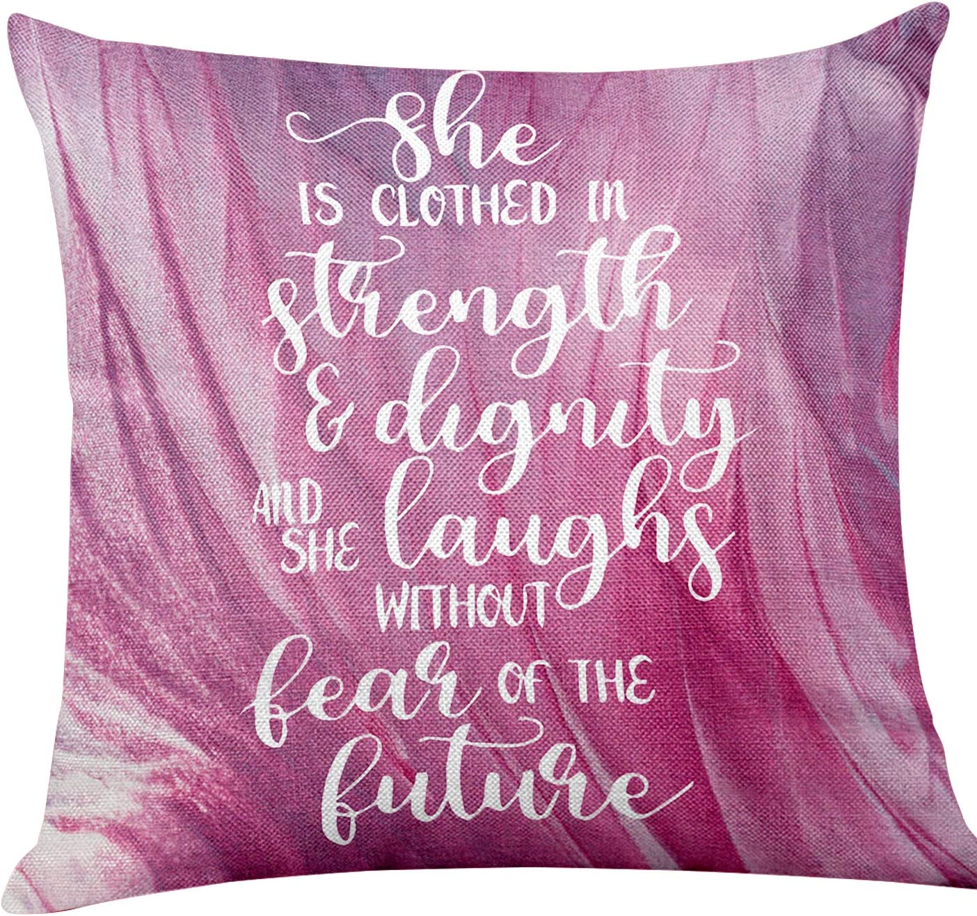 yuzi-n She is Clothed in Strength & Dignity and Laughs Without Fear of The Future Inspirational Quote Pillow Covers, Gifts for Kids Girl Sister mom Women, Office Teen Girl Room Decor