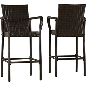 2 Pieces Patio Barstools With Arms And Full Back Style Made Of Resin Wicker  In Brown
