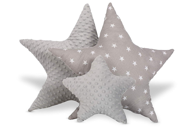 Kinderzimmer Babyzimmer Pl/üschkissen f/ür Kinder M/ädchen Junge Grau Wei/ß mit Sternen /ø 60cm Kissen Stern Dekokissen