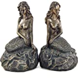 Bellaa Bookends - Mythical Mermaid Bookends - Nautical Bookends - Book Ends - Coastal Home Decor