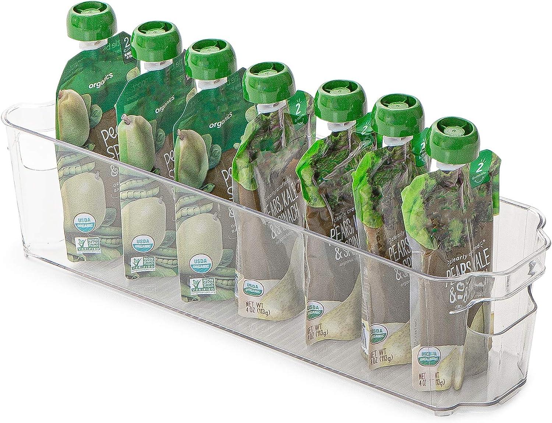 Smart Design Stackable Refrigerator Bin - (4 x 15 Inch) - w/Handle - BPA Free Polyethylene - for Fridge, Freezer, Pantry Organization - Kitchen [Clear]