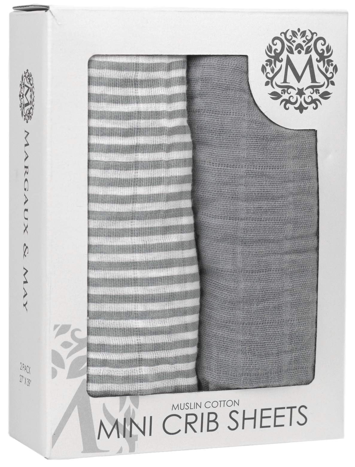 Premium Mini Crib Sheets   100% Muslin Cotton Fitted Sheet Set   2 Pack   Perfect for Graco Playards, Mini Crib Mattress and Pack n Play Portable Cots   Grey & Stripes Design - Margaux & May by Margaux & May
