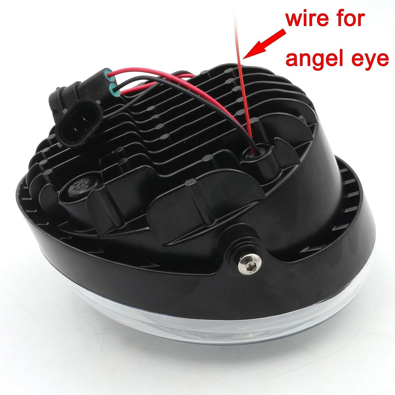 Black New Angel Eye LED Headlight For Harley Davidson VRSCA V-Rod VRod