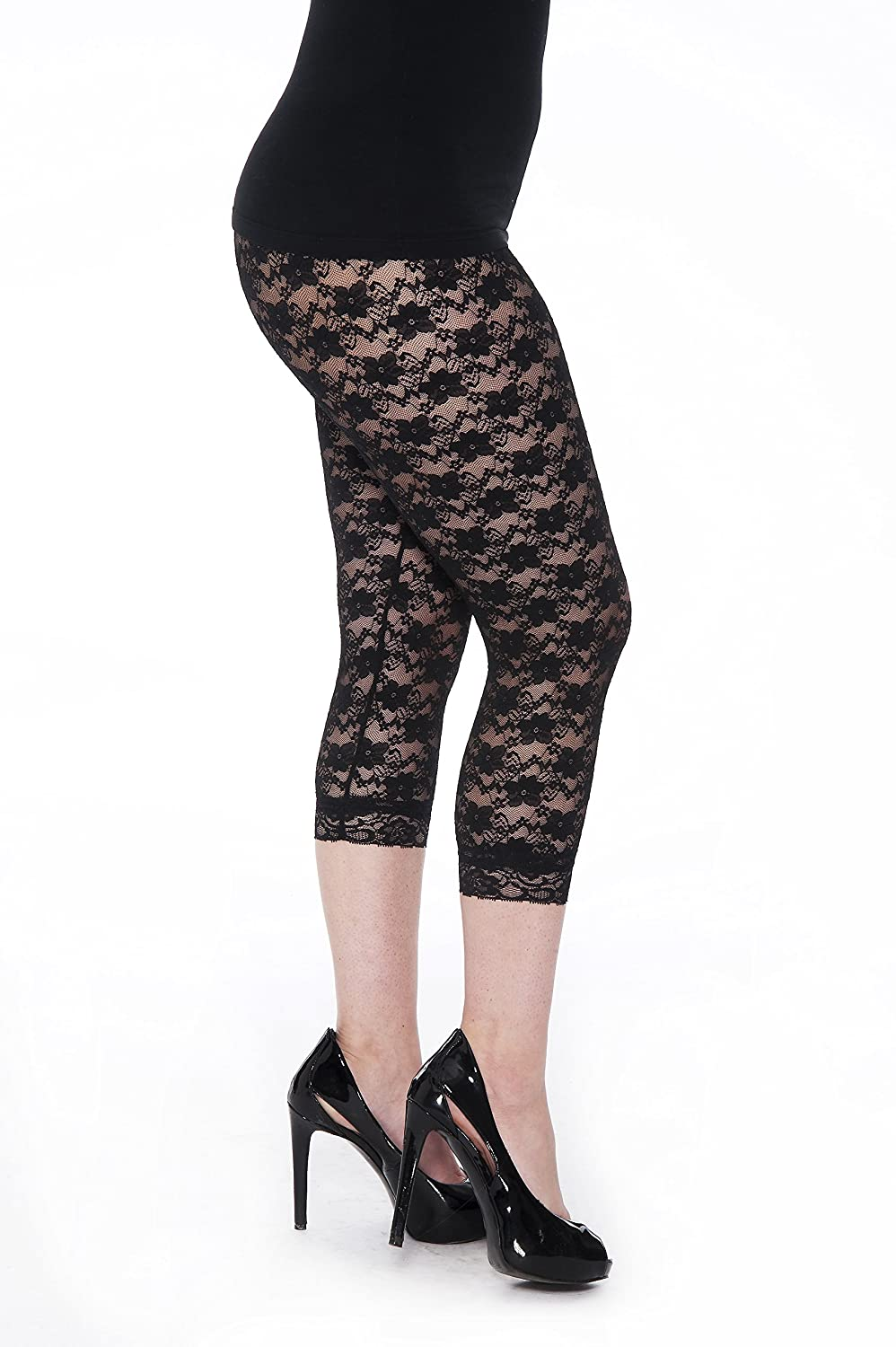 28ee20a006e3a Unique Styles Lace Capri Leggings - Footless Tights Floral Pattern Cropped  Pants at Amazon Women's Clothing store: