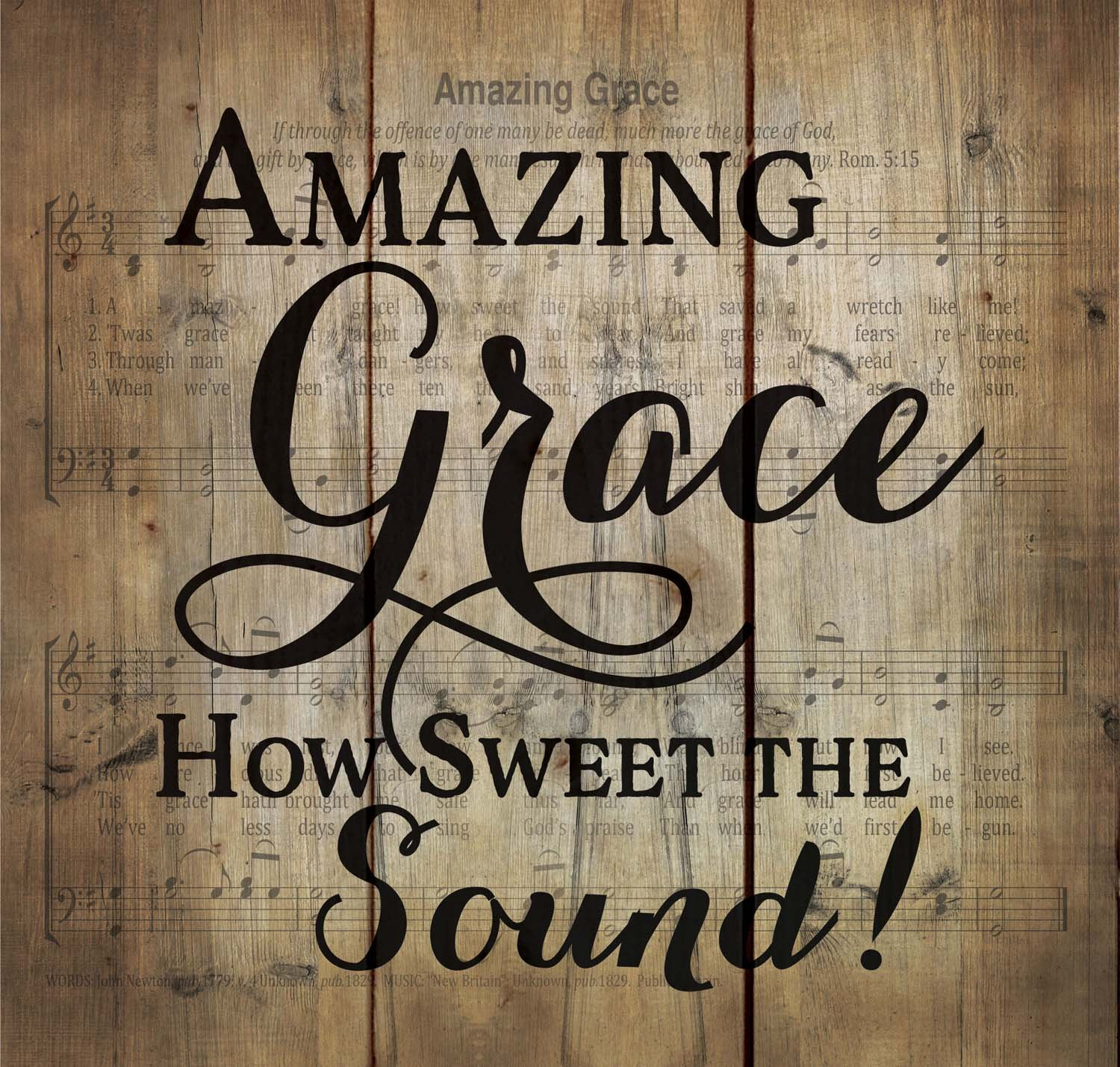 Amazing Grace Old Fashion Hymn Sheet Music Design 10 x 11 Wood Pallet Wall Art Sign Plaque