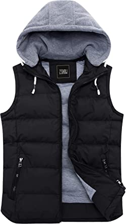 Yeokou Womens Slim Warm Cotton Padded Mid Long Hooded Denim Vest Jacket