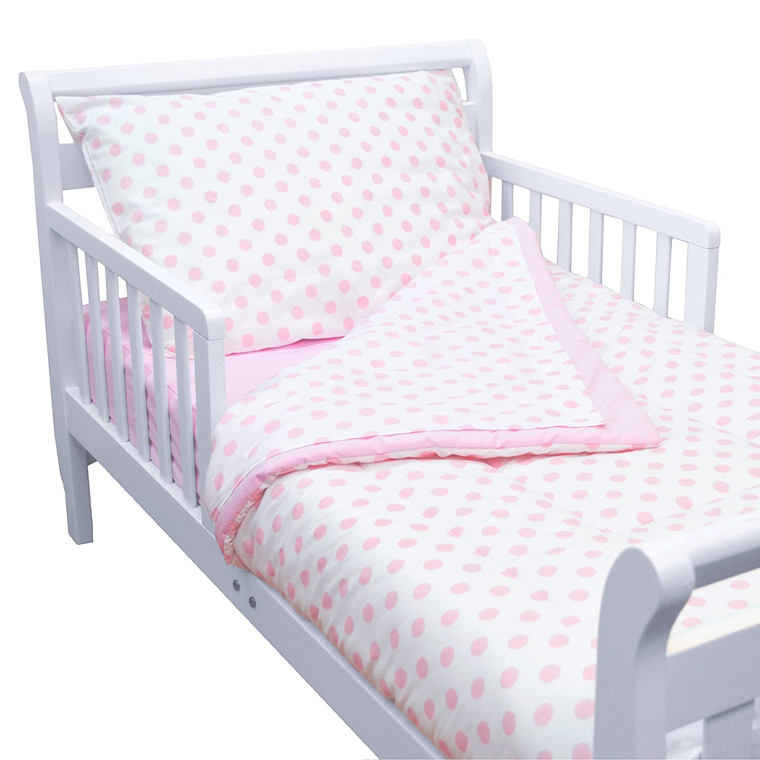 TL Care 100% Cotton Percale Toddler Bed Set, Pink, for Girls