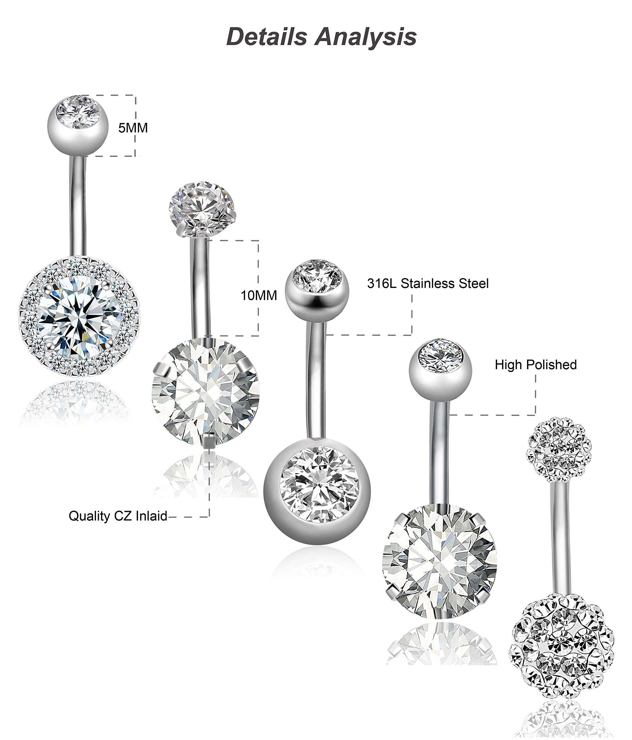 REVOLIA 5Pcs 14G Stainless Steel Belly Button Rings for Women Girls Navel Rings CZ Body Piercing S by REVOLIA (Image #5)