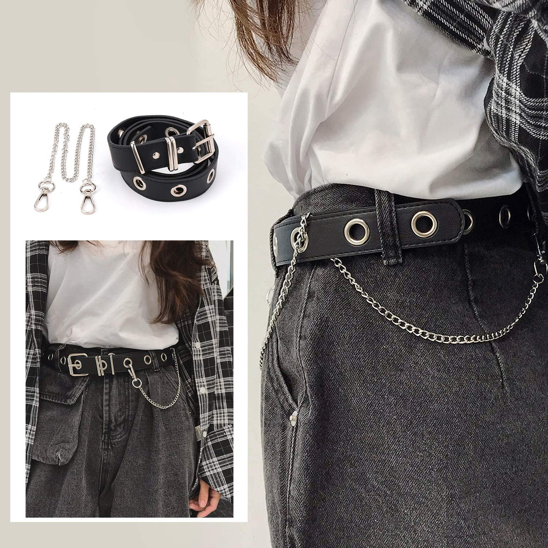 Zoylink Cinturon De Jeans Para Mujer Moda Hollow Punk Estilo Pantalones Cinturon Con Cadena Accesorios Cinturones