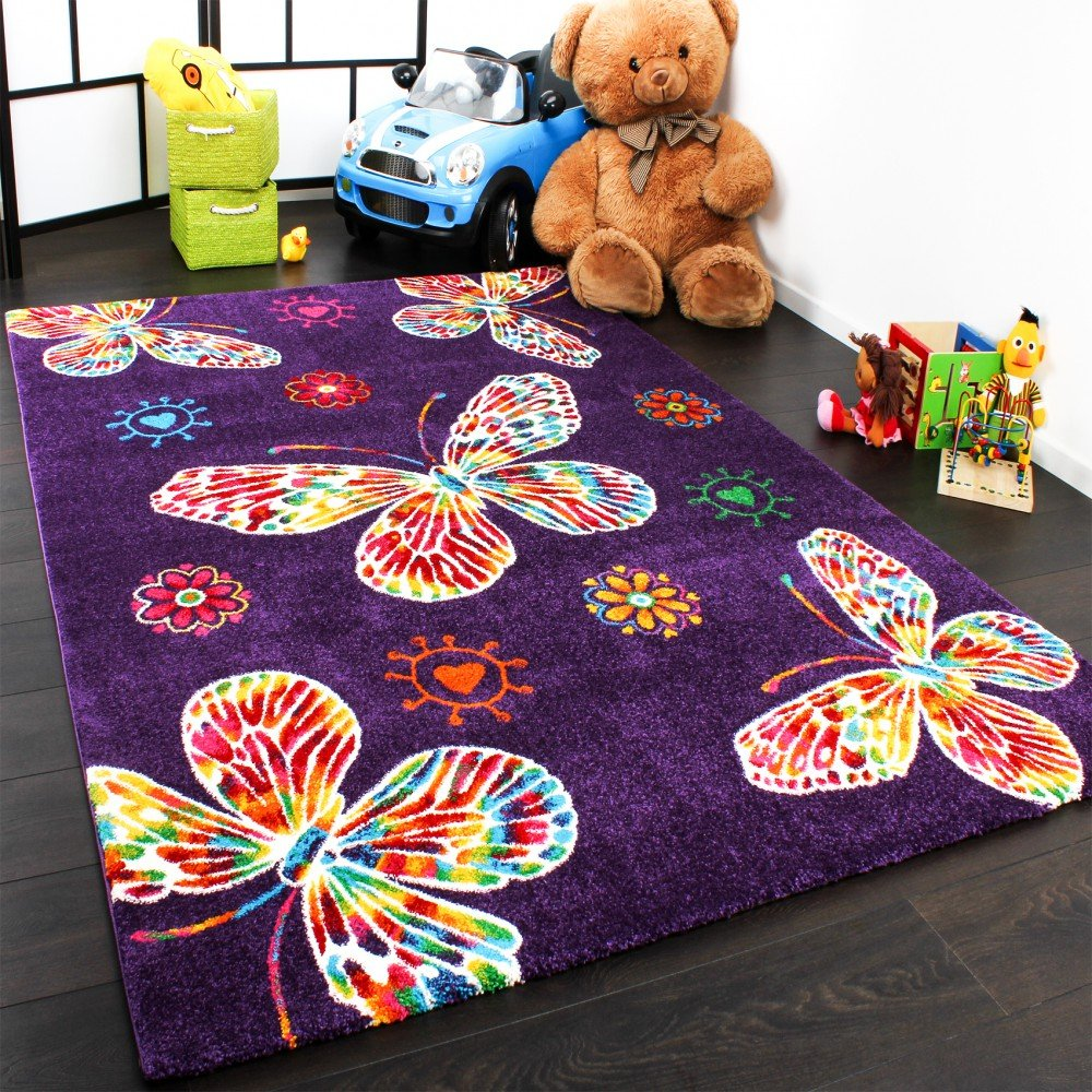 Kids' Rug - Butterfly Design - Purple Multicoloured, Size:80x150 cm PHC