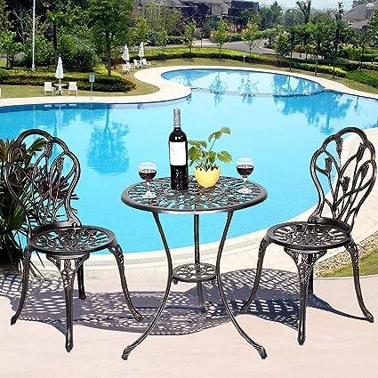 29196540138 Giantex 3 Piece Bistro Set Cast Tulip Design Antique Outdoor Patio Furniture  Weather Resistant Garden Round