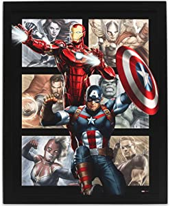 Open Road Brands Marvel Avengers Framed Wood Wall Décor - Featuring Captain America, Iron Man and More - for Bedroom, Man Cave or Theater Room