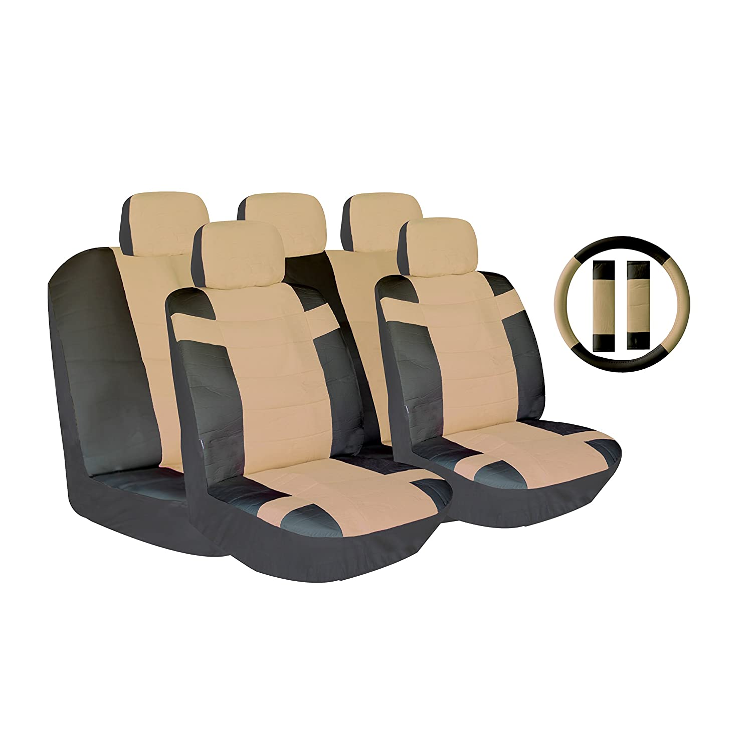 AutoSphere 124104-twotonesctan Black and Tan Universal Fit Luxury Two Tone Pu Synthetic Leather Seat Cover Set Accent Superior with Steering Wheel Belt Pad 14 Piece