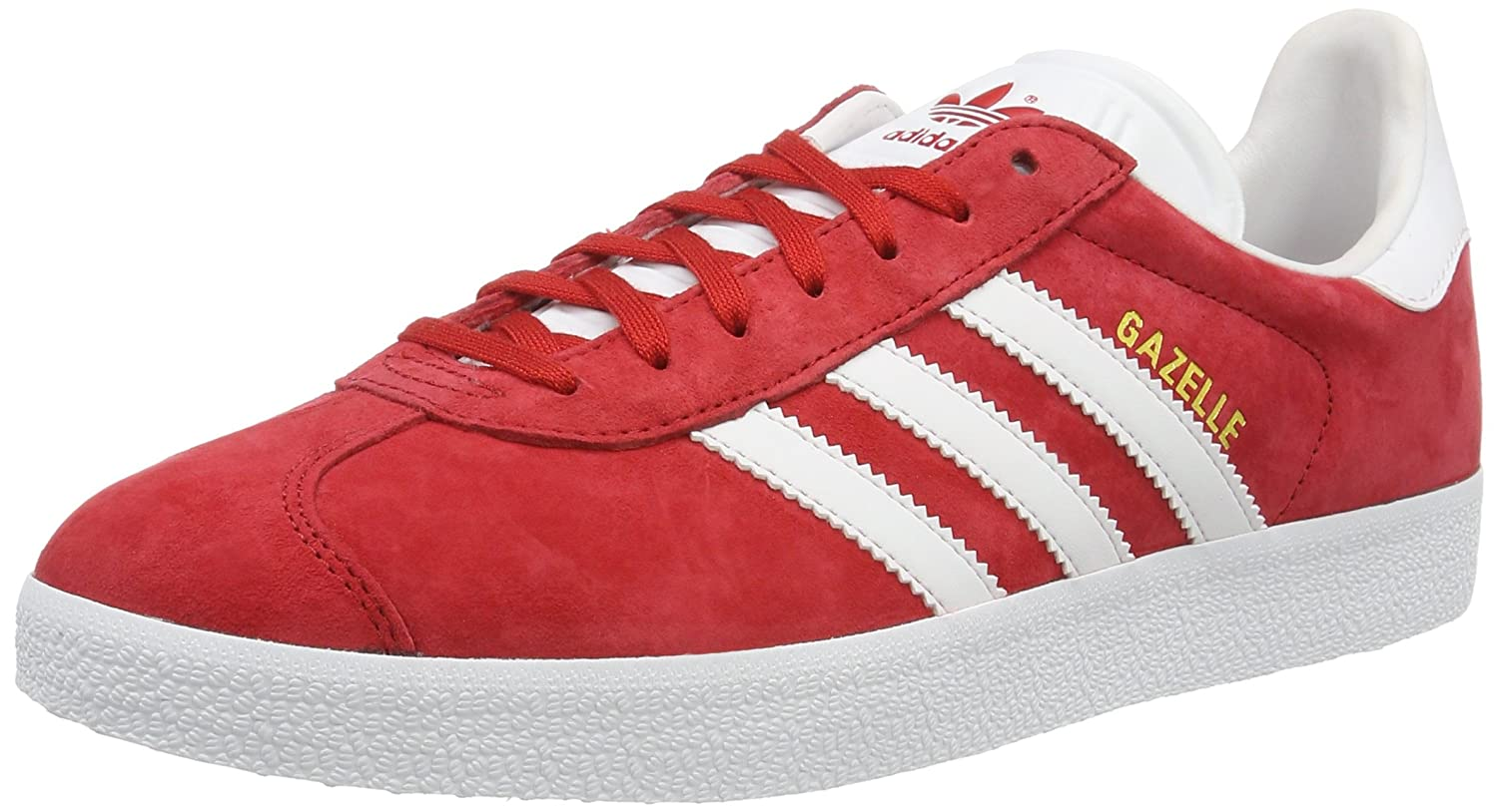 Adidas Originals Gazelle, Zapatillas de Deporte Unisex Adulto 43 1/3 EU|Rojo (Power Red/White/Gold Metallic)