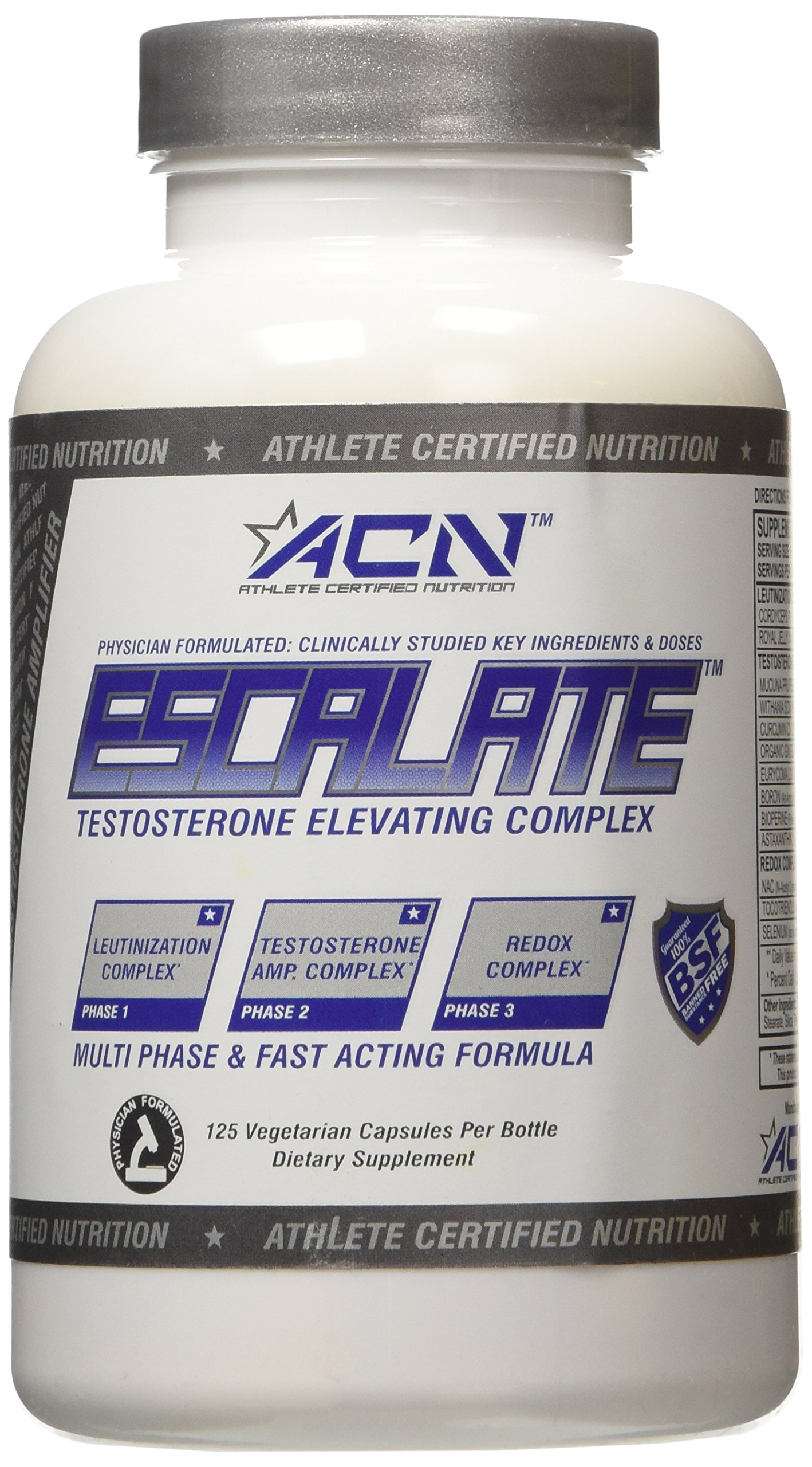 Athlete Certified Nutrition Escalate Free Testosterone Elevating Complex Supplement, 125 Count