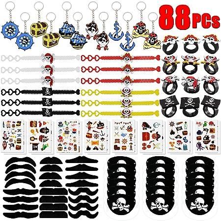 BabyCareV 88Piezas Pirata Cumpleaños Party Accesorios Pirata Llavero Pirata Pulsera Pirata Anillo Parches de Ojo de Pirata Pirata Bigote para Favores ...