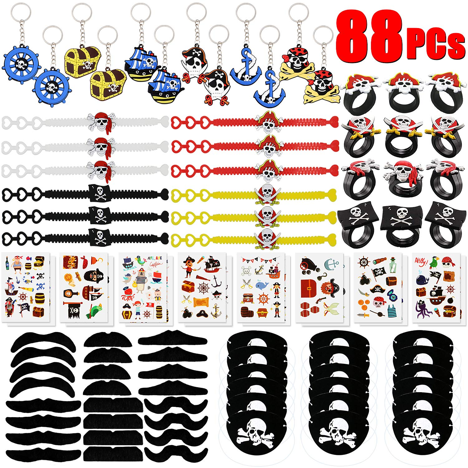 BabyCareV 88 PCs Pirate Party Favors Pirate Keychain Rings Bracelets Pirate Eye Patch Mustache Tattoos Stickers Pirate Party Favors Decoration