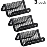 MaxGear Business Card Holder for Desk Metal Business Card Display Holders Mesh Business Cards Holder Stand 3 Pack Desktop Name Card Organizer, Capacity: 50 Cards, Black