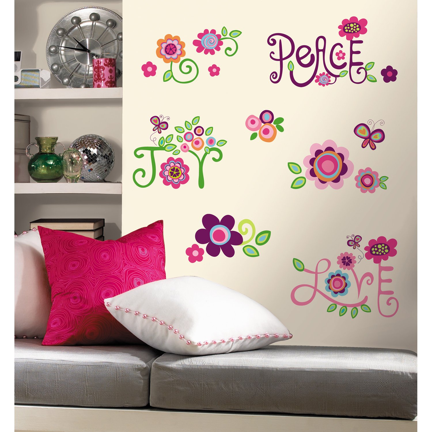 Roommates rmk1649scs love joy peace peel stick wall decals roommates rmk1649scs love joy peace peel stick wall decals wall decor stickers amazon amipublicfo Gallery