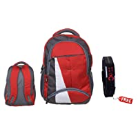 BLUTECH Canvas Red Waterproof School Bag & College LAPTOPfor Boys+ Free led