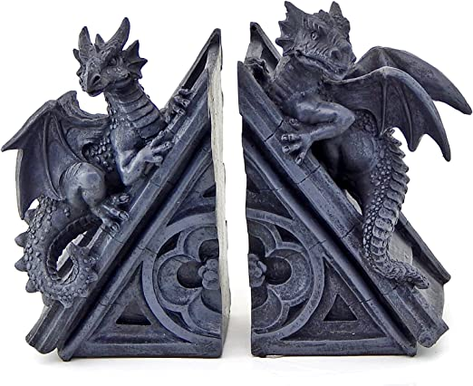 FANTASY DRAGONS BOOK END SET OF 2 Gothic Medieval Decor Collectibles Bookend