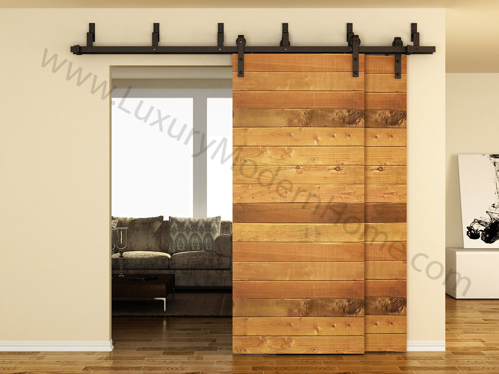 sbd BYPASS - AUSTIN - 8' feet - 98'' 2.5 m Rail BYPASS Sliding Barn Door Hardware Rustic Antique Classic Country Dark Coffee Track Rail Steel Extra Long by LuxuryModernHome (Image #3)