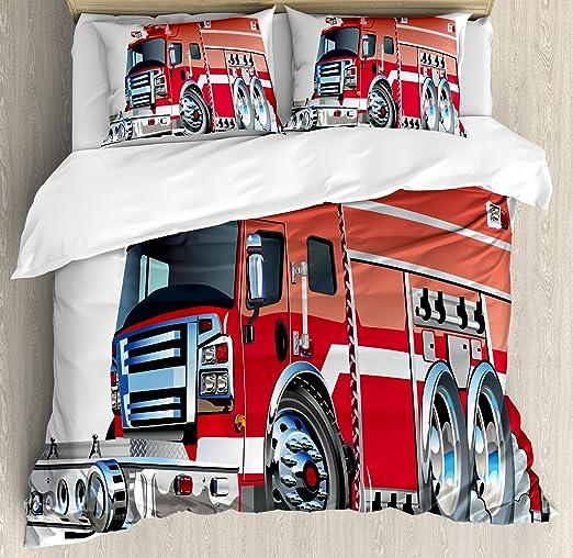 Cartoon Quilted Coverlet /& Pillow Shams Set Fire Truck Rescue Team Print