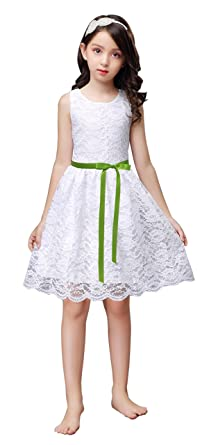 Green Floral Dress With White Ribbon Clothes, Shoes & Accessories