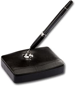 Dacasso Leather Pen Stand with Silver Accents