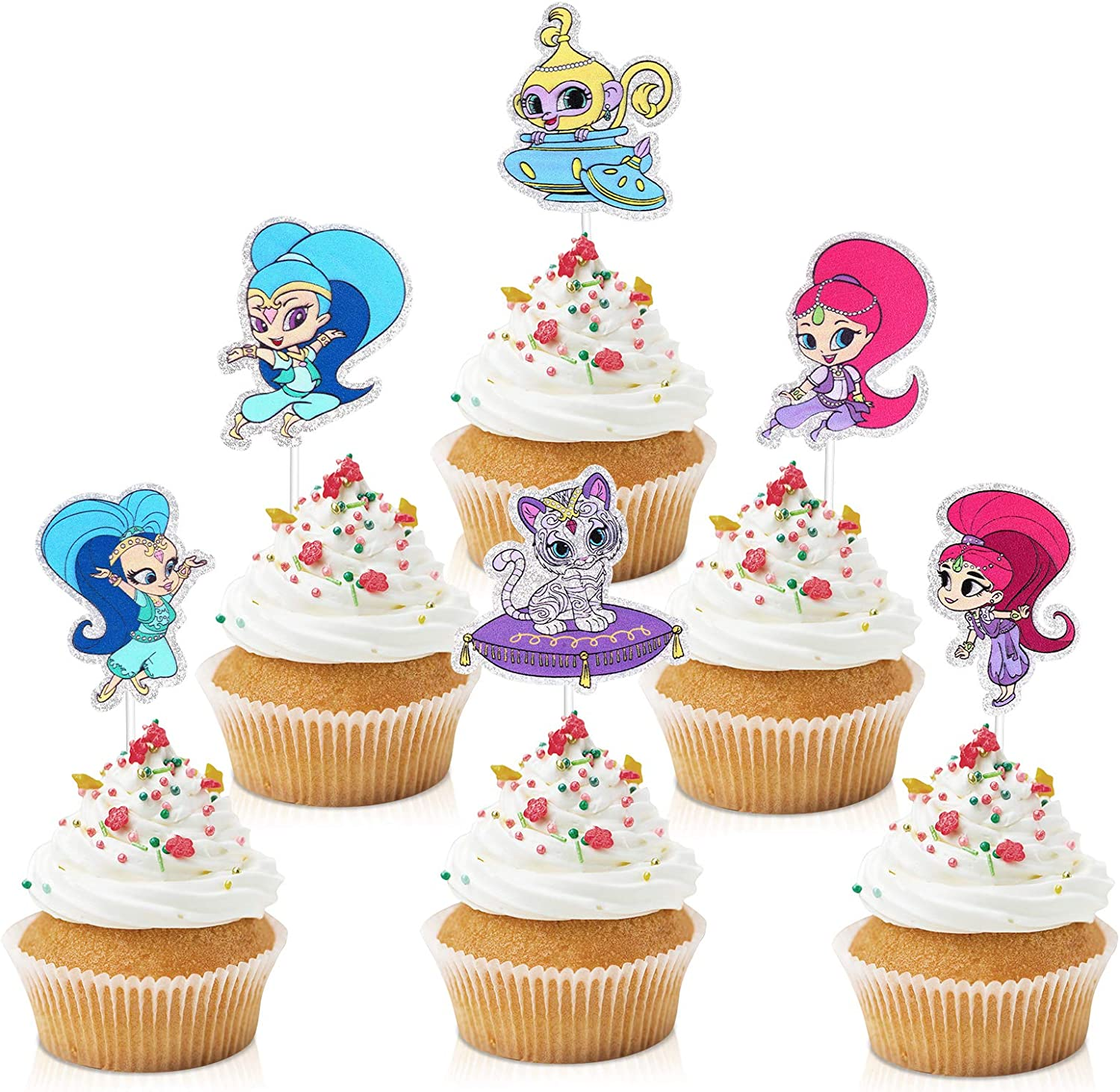 18pcs Shimmer And Shine Cupcake Toppers Pink Girls Birthday Party Decorations Cartoon Party Glitter Shimmer Shine Genius Cupcake Supplies